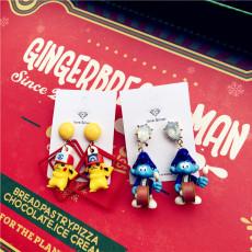 Pocket Monster Pikachu geometric square earrings