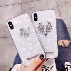 swarovski iPhone Protective case artificial diamond shiny swan deer Apple phone soft shell