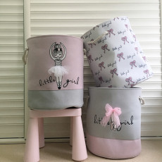 Ballet Shoes Bowknot Canvas Laundry Storage Basket - As Seen On TV