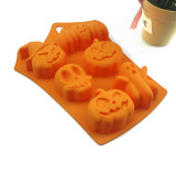 Baking Mold DIY 6 Hole Halloween Ghost Festival Pumpkin Taro Silicone Cake Mold