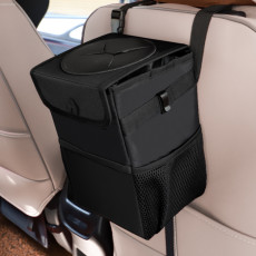 Multi-function car trash can waterproof folding supplies chair back hanging storage bag