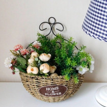 Handmade flower basket wicker woven fleshy flower pot decoration