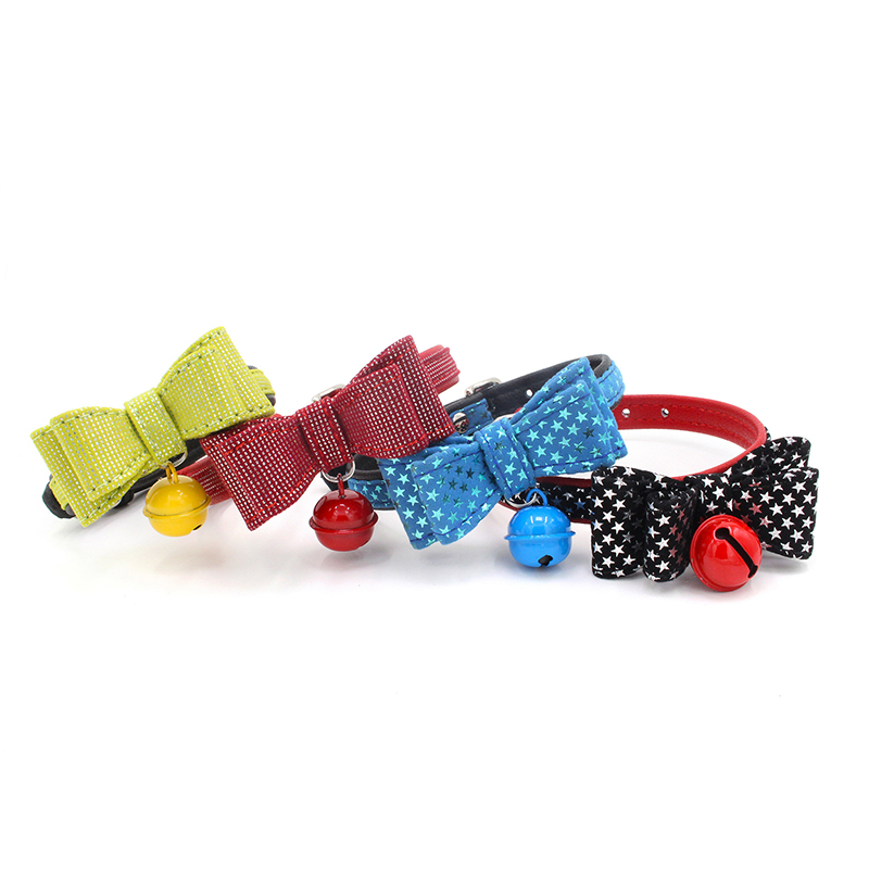 Star pattern bowknot pet collar bells dog pet supplies