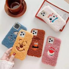 Winnie Bear plush iPhone 11Pro max case cute 3D embroidery Fork potato beard warm hand case