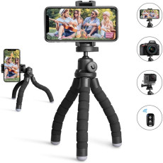 Portable and Flexible Phone Tripod with Wireless Remote and Universal Clip