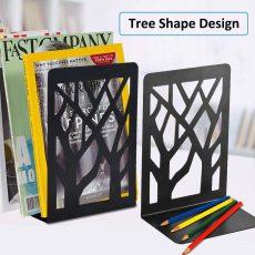1 Pair Metal Bookends for Shelves Tree Shape Design Book Shelf Holder Home Decorative