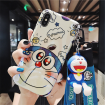 Cartoon Doraemon Soft iPhone Case with Wrist Strap Portable Protective Silicone Cover