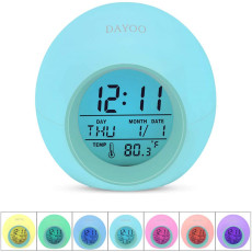 LED Color Digital Alarm Clock Color Changing Night light Thermometer Wake Up Clocks