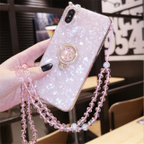 Crystal Rabbit iPhone Case with Lanyard Silicone Glitter Phone Cover