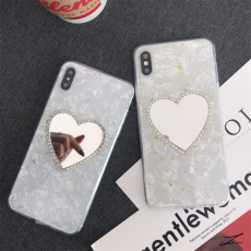 Love Heart Mirror iPhone Case Ultra Thin Shinning Silicone Phone Cover