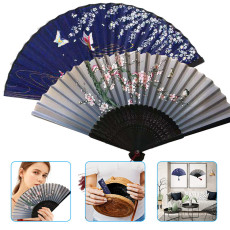 2 Packs Chinese Style Hand Folding Fan With Bamboo Frame Elegant Tassel Home Decoration