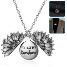 You are My Sunshine Necklace Sunflower Locket Pendant Necklace