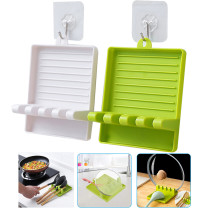 1PCS Non-slip Silicone Pad Kitchen Spoon Spatula Shelf Tableware Storage Rack
