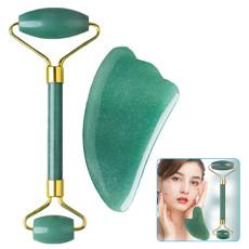 Natural Jade Facial Roller Anti Aging Wrinkle Jade Stone Kit Gua Sha Set for Eyes Neck