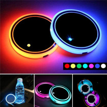 Car LED Colorful Water Cup Mat Anti-Slip Mats Atmosphere Light Lamp Drink Holder Auto Products