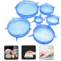 6PCS Silicone Stretch Lids Universal Food Wrap Bowl Pot Cover Kitchen Accessories