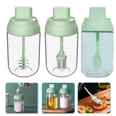 Glass Condiment Storage Container Seasoning Bottle Condiment Pot Spice Jar with Spoon Oil Brush