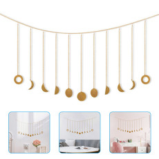 Moon Phase Garland with Chains Shining Wall Hanging Decor Home Ornaments