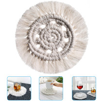 Cotton Rope Woven Coasters With Tassels Heat Insulation Cup Mat Coffee Drink Teacup Placemats