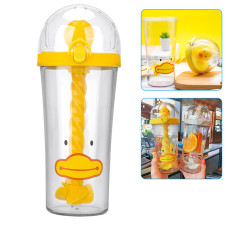 Cute Duck Water Cup with Spiral Straw Lid Portable Cartoon Animals Sippy Cups Stirring Bottle