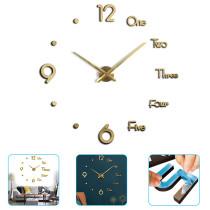 Large 3D Frameless Wall Clock Modern Design Silent Acrylic Wall Sticker Clock Home Decor