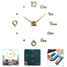 Large 3D Frameless Wall Clock Modern Design Silent Acrylic Wall Sticker Clock Home Decor