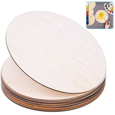 10 Pcs Natural Blank Wood Pieces Slice Round Wooden Discs for Crafts DIY Home Decor