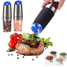 Electric Pepper Salt Mill Grinder Automatic Gravity Pepper Spice Mills with LED Light