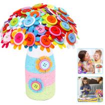 DIY Craft Button Flower Kit Kids Toy Handicrafts Felt Petals Bouquet Home Decoration