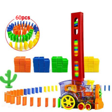Electric Automatic Domino Block Train with Lights and Sounds Kids Educational Toys