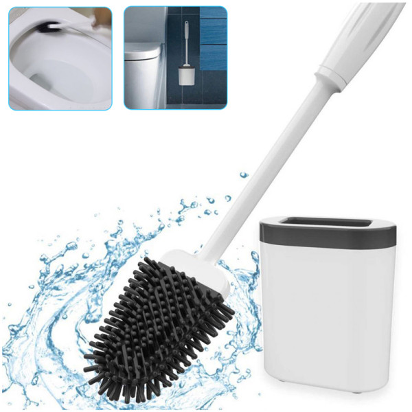 Silicone Toilet Brush Holder Set Wall-mounted Bathroom Toilet Brush with Bendable Brush Head
