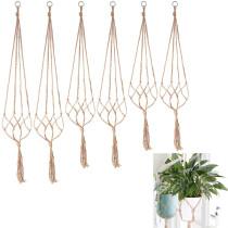 6Pcs Handmade Macrame Plant Hanger Flower Pot Wall Decoration Garden Hanging Basket