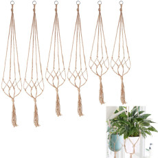 6Pcs Handmade Macrame Plant Hanger Flower Pot Wall Decoration Garden Hanging Basket