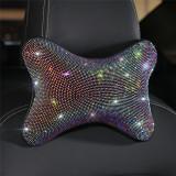 Rhinestones Diamond Car Seat Neck Rest Pillow Crystal Headrest Head Support Pad Auto Decor