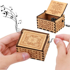 You are My Sunshine Wooden Hand Crank Music Box Engraved Vintage Musical Box Christmas Gift