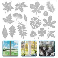 4 Pcs Transparent Leaf Window Sticker Anti-Collision Window Clings Alert Bird Decal