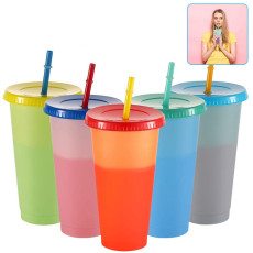 5 Pcs Colorful Cold Water Color Changing Cup With Straw Lid Reusable Cold Drink Cups