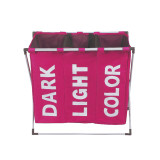 Foldable Laundry Hamper Dirty Clothes Storage Basket Three Grid Waterproof Home Laundry Basket