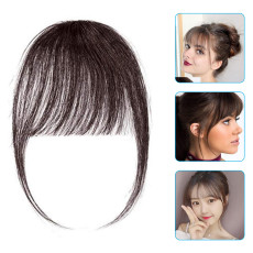 3 Pcs Human Air Bangs Hair Extension Front Fringe Hair Clips Fake Hair Wig for Women