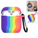 Rainbow Silicone AirPods Case With Hook Bluetooth Earphone Charging Box Protective Cover