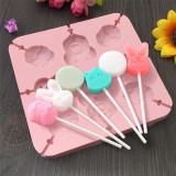 DIY Handmade Lollipop Silicone Mold Cartoon Animals Flower Chocolate Mold Cake Decoration