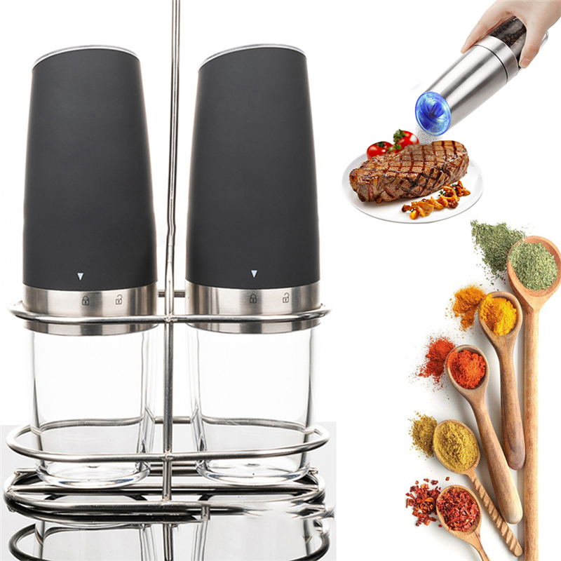 2 Pcs Electric Pepper Grinder Set with Metal Stand Automatic Gravity Stainless Steel Pepper Mill