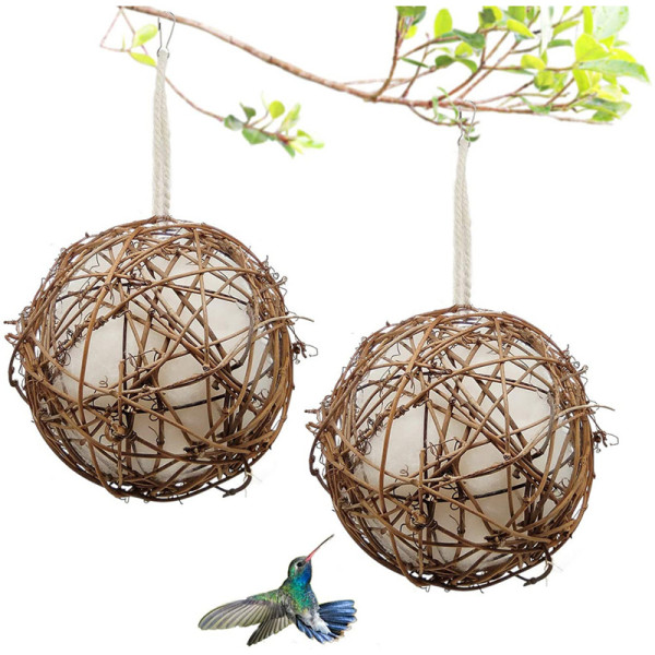 2 Pcs Globe Hummingbird Nester Hummingbird Nesting House Set Bird Nesting Materials Holder