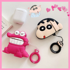 3D Crayon Shin-chan Airpods Case dinosaur Apple Airpods 1 2 Silicone Protection Cover