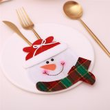 Christmas Tableware Cover Pocket Bag Santa Hat Reindeer