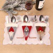 Christmas Tableware Cover Pocket Bag Santa Hat Reindeer
