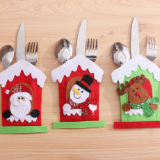 Santa Hat Reindeer Christmas New Year Pocket Fork Knife Cutlery Holder Bag Home Party Table Dinner Decoration Tableware 63012