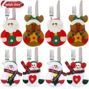 8pcs Christmas Decorations Snowman Kitchen Tableware Holder bag Party gift Xmas ornament Christmas decorations for home table