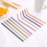 M&D Metal Reusable 304 Stainless Steel Straws Straight Bent Drinking Straw With Case Cleaning Brush Set Party Bar accessory