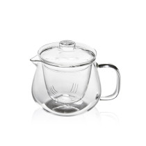 M&D Tea Maker- Glass Teapot with Removable Glass Strainer, Microwave & Dishwasher Safe, Tea Pot with Blooming, Loose Leaf Tea Sampler,400ml